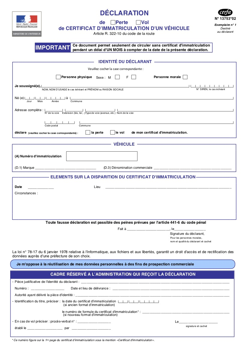 Formulaire de déclaration de perte ou de vol d'une carte grise