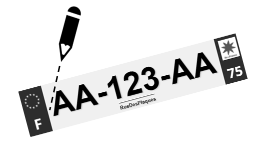 marquez avec un crayon, les plaques d'immatriculations homologuées