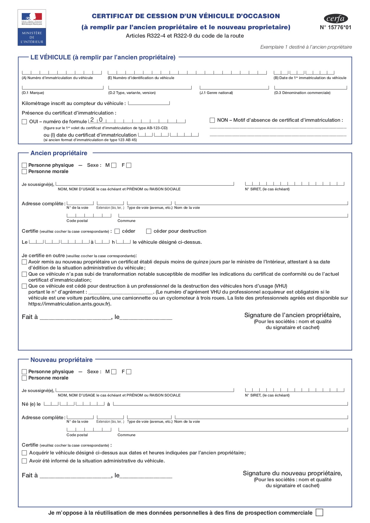 Declaration De Cession Ou Aussi Appele Formulaire Cerfa 15776 01